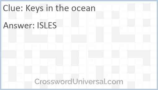 Keys in the ocean Answer