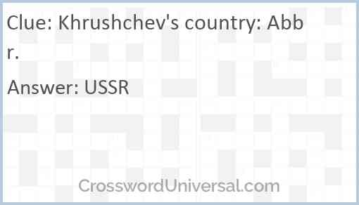 Khrushchev's country: Abbr. Answer