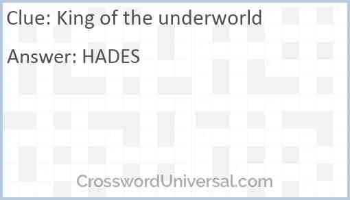 King of the underworld Answer