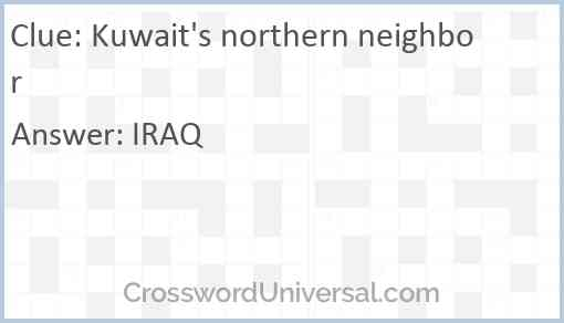 Kuwait's northern neighbor Answer