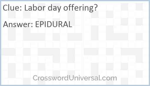 Labor day offering? Answer