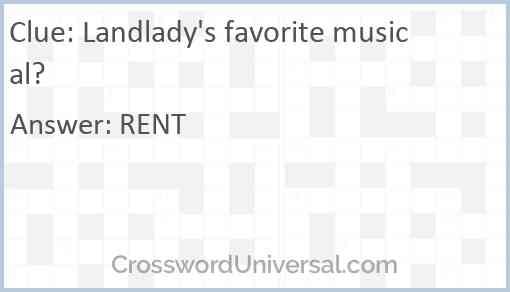 Landlady's favorite musical? Answer