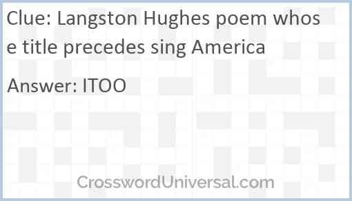 Langston Hughes poem whose title precedes sing America Answer
