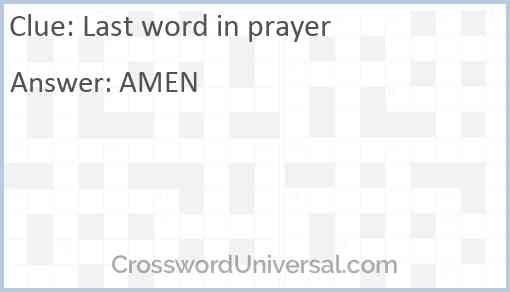 Last word in prayer Answer