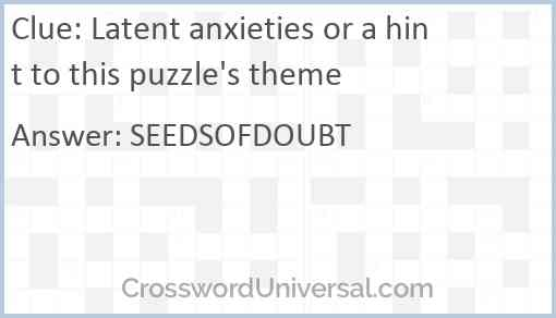 Latent anxieties or a hint to this puzzle's theme Answer