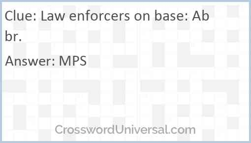 Law enforcers on base: Abbr. Answer