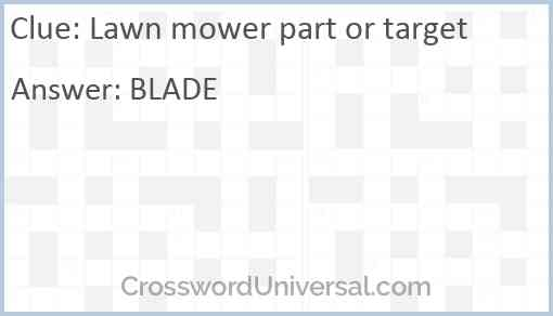 Lawn mower part or target Answer