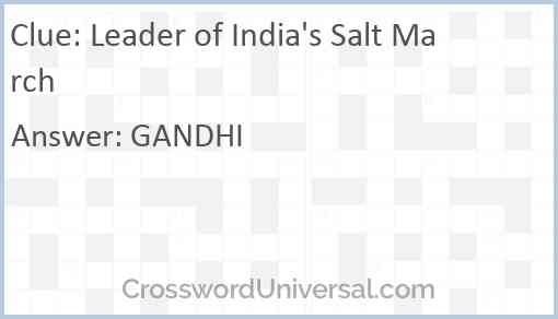Leader of India's Salt March Answer