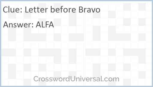 Letter before Bravo Answer
