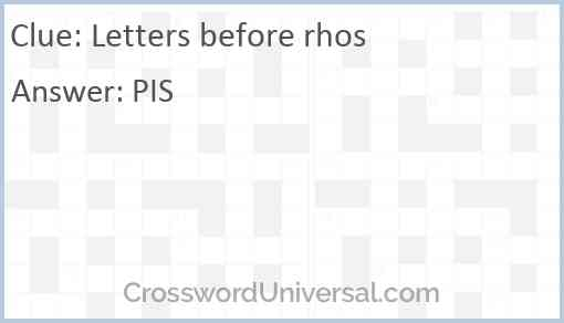 Letters before rhos Answer