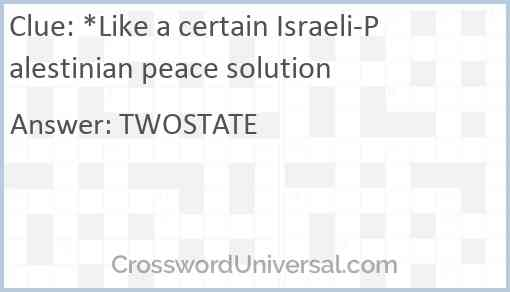 *Like a certain Israeli-Palestinian peace solution Answer