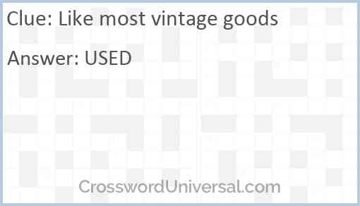 Like most vintage goods Answer