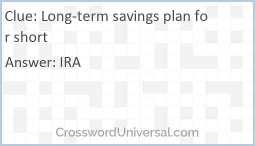 Long-term savings plan for short Answer