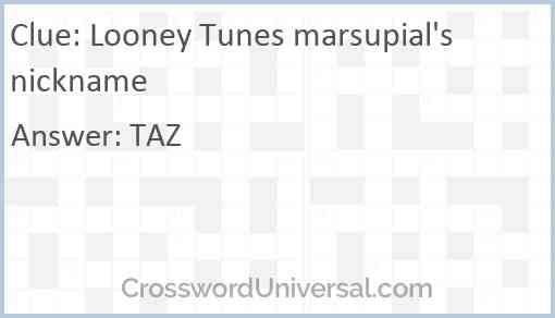 Looney Tunes marsupial's nickname Answer