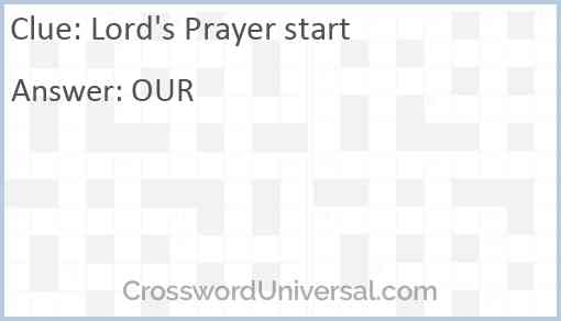 Lord's Prayer start Answer