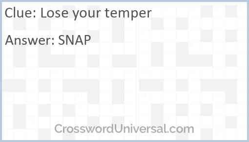 Lose your temper Answer