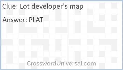 Lot developer's map Answer