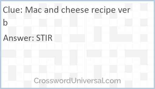 Mac and cheese recipe verb Answer