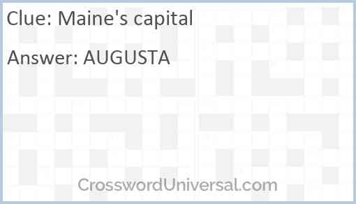 Maine's capital Answer