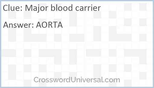 Major blood carrier Answer
