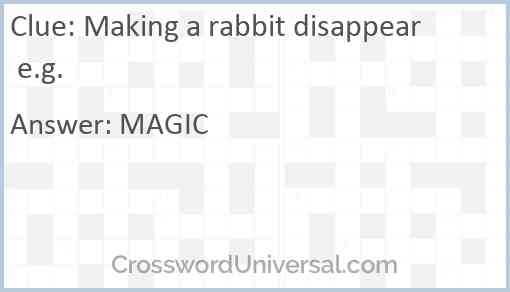Making a rabbit disappear e.g. Answer
