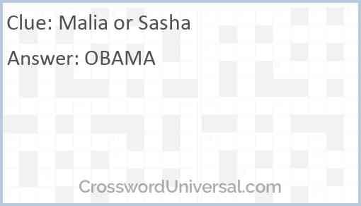 Malia or Sasha Answer