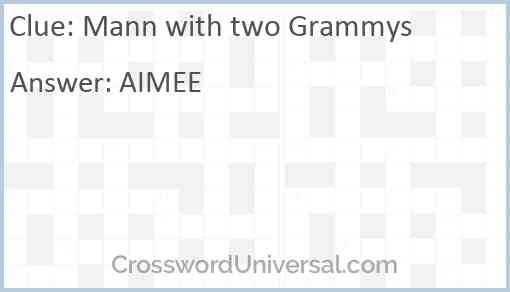 Mann with two Grammys Answer