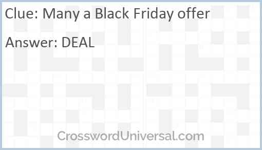 Many a Black Friday offer Answer
