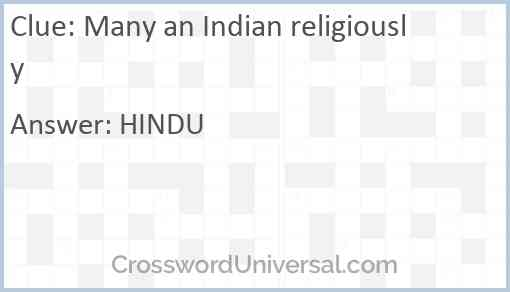 Many an Indian religiously Answer