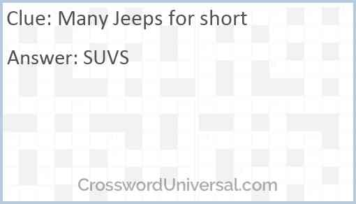 Many Jeeps for short Answer