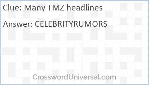 Many TMZ headlines Answer