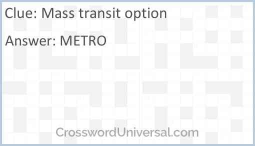 Mass transit option Answer