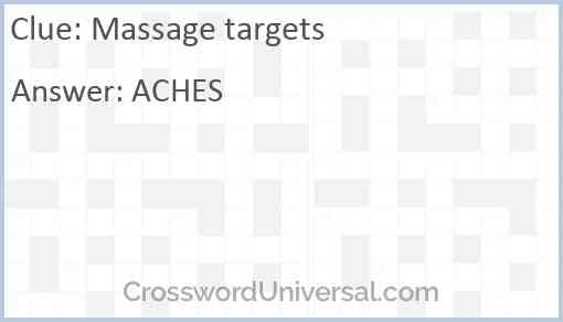Massage targets Answer