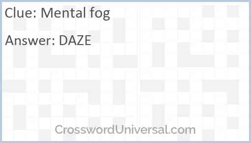 Mental fog Answer
