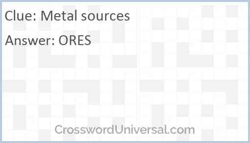 Metal sources Answer