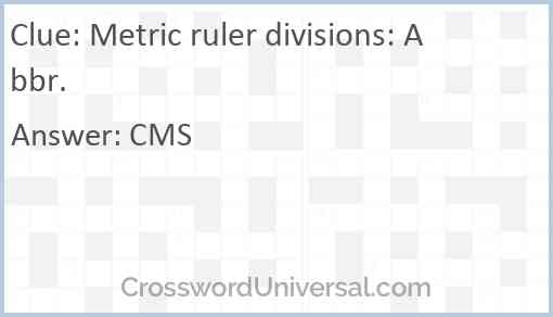 Metric ruler divisions: Abbr. Answer