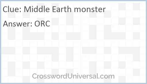 Middle Earth monster Answer