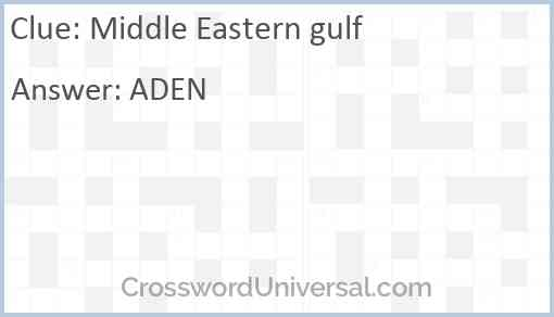 Middle Eastern gulf Answer