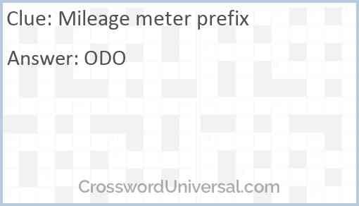 Mileage meter prefix Answer
