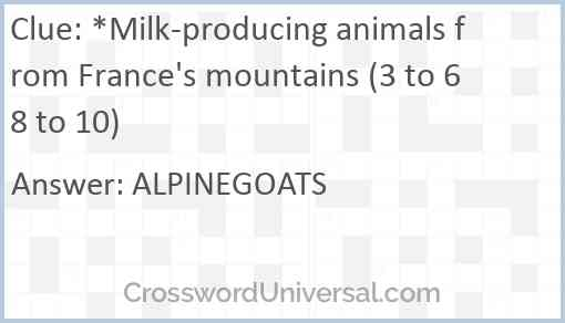 *Milk-producing animals from France's mountains (3 to 6 8 to 10) Answer