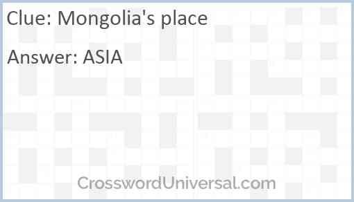Mongolia's place Answer