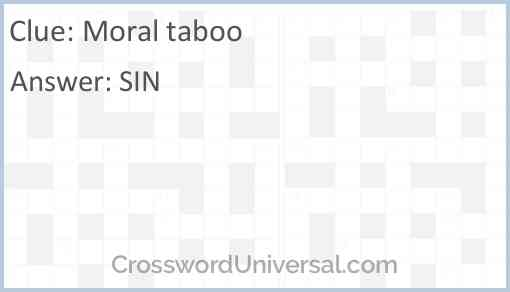 Moral taboo Answer