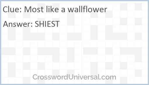Most like a wallflower Answer