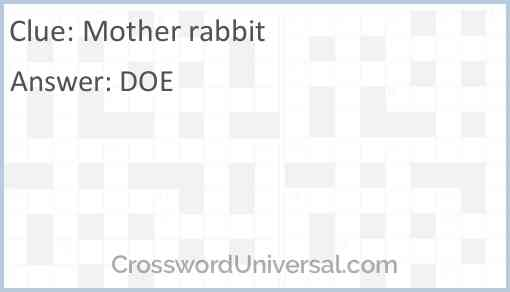 Mother rabbit Answer