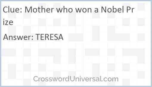 Mother who won a Nobel Prize Answer