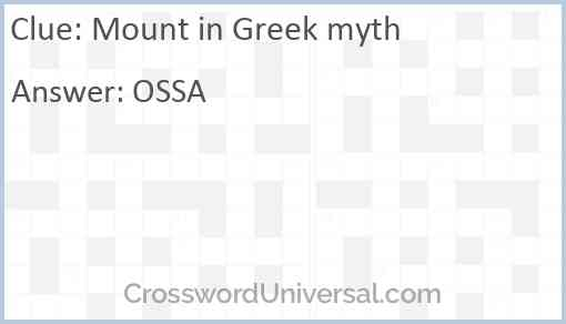 Mount in Greek myth Answer