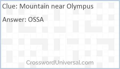 Mountain near Olympus Answer