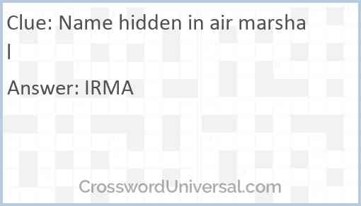 Name hidden in air marshal Answer