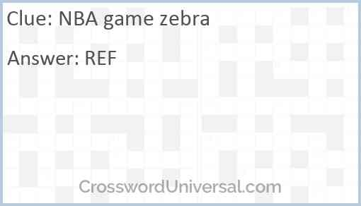 NBA game zebra Answer