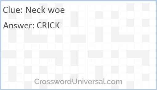 Neck woe Answer
